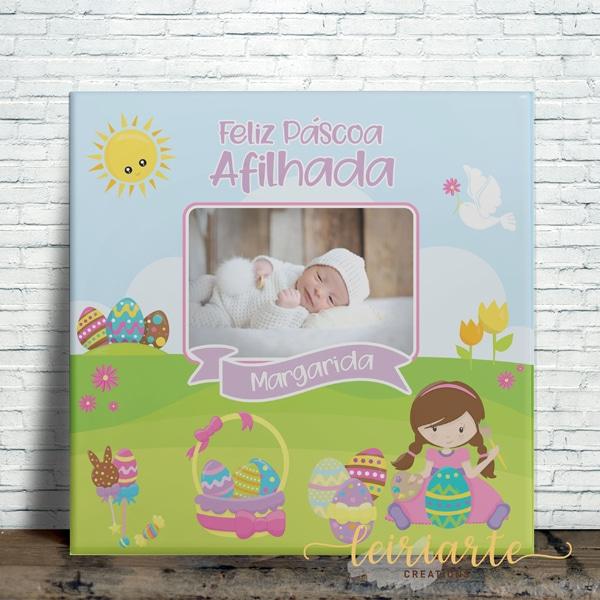 Azulejo personalizado feliz páscoa madrinha/afilhada
