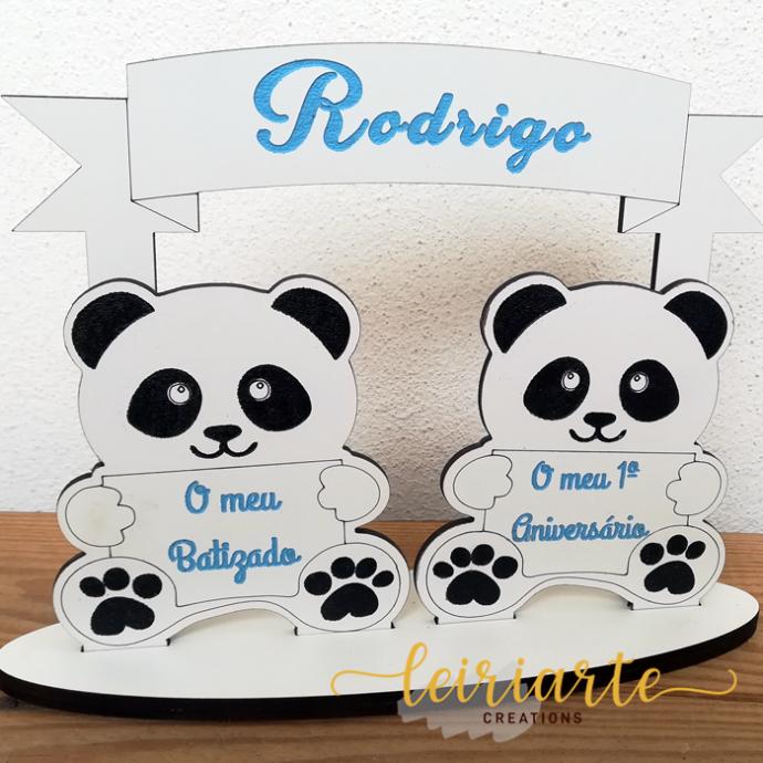 """Topo de bolo duplo do """"panda"""" personalizado"""