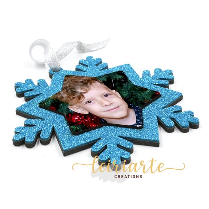 Floco de natal colorido e personalizado com foto - 10 cm (dupla)