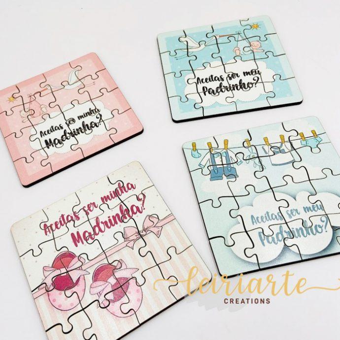 Mini puzzle convite padrinho/madrinha